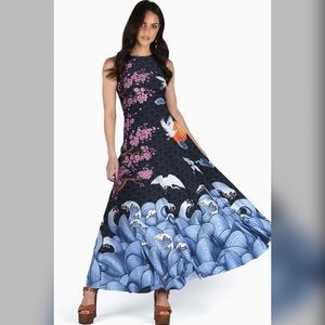 Flight of Tsuru maxi dress - BlackMilk Clothing